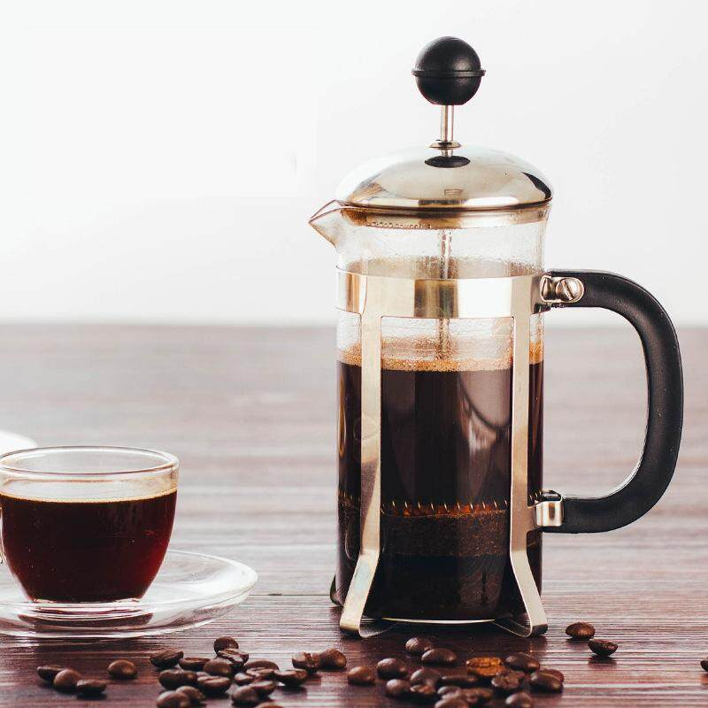 French Press Coffee Maker Teapot 350ml Coffee Press Pot Stainless Steel Glass Jug Office Kitchen Coffee Tea Tools Accessories