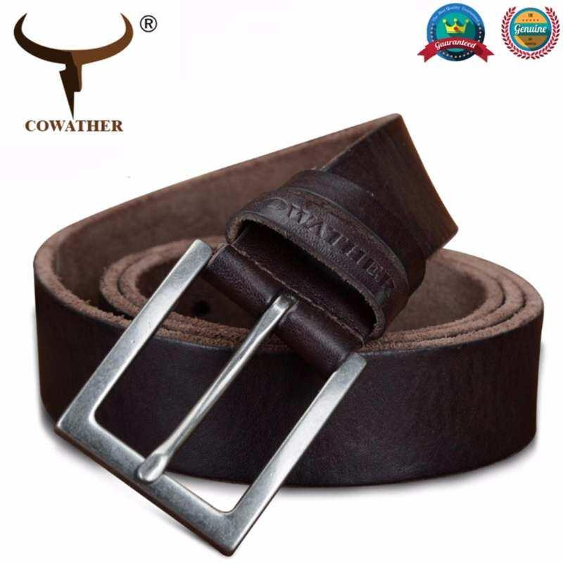 COWATHER Men Top Cow Leather Ratchet Dress Belt 100% Cow Genuine Leather Men Belts for Men Fashion Pin Buckle Male Strap Belt Coffee XXS-XXL
