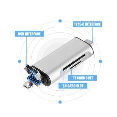 Multi-function Type-C + Micro USB+USB 2.0 + SD/TF Card Reader for Smartphone Computer (Silver) – intl