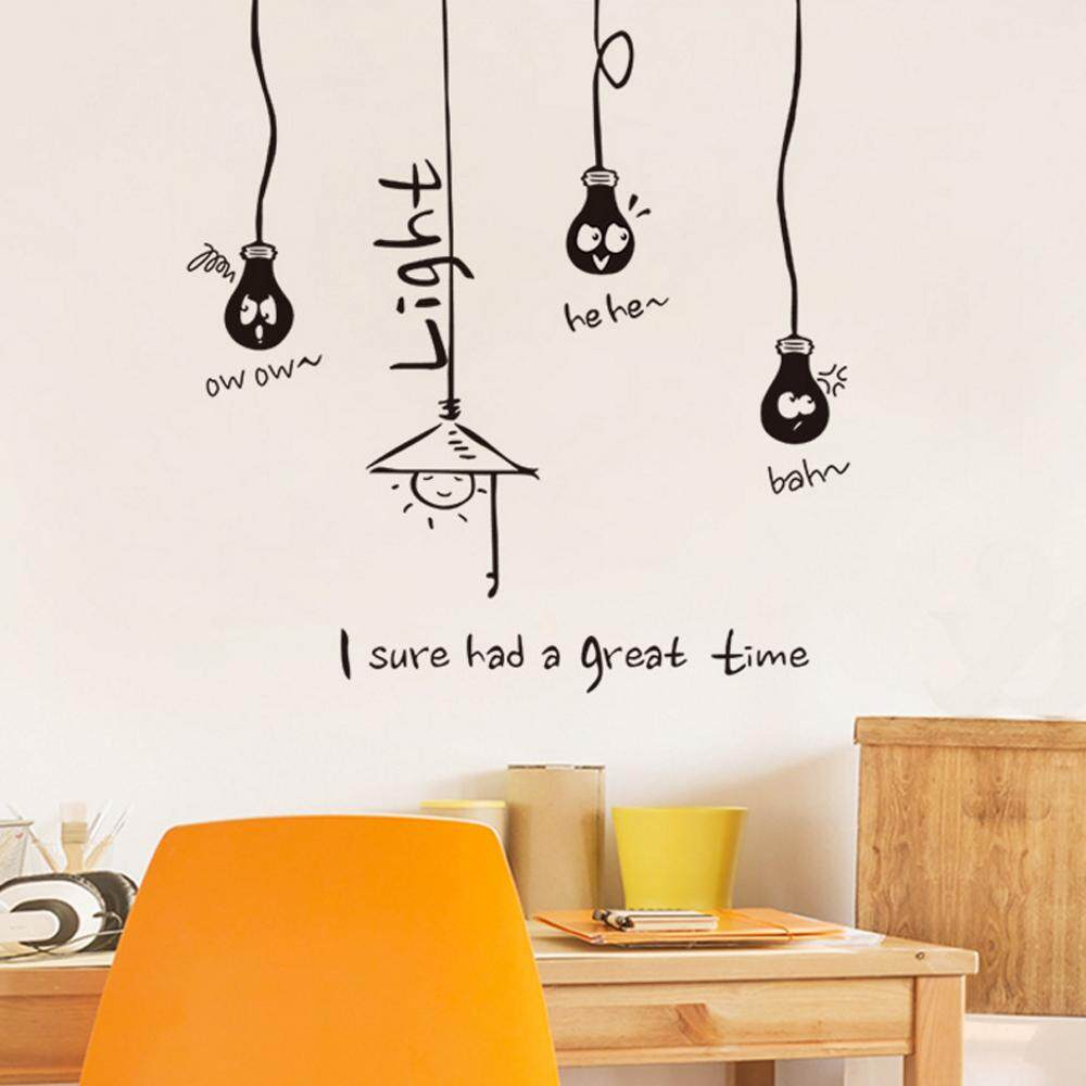 Black Lamp PVC Wall Decals DIY Home Sticker WallPaper Vinyl Wall arts Pictures Removable Murals For House Decoration Baby Living Rooms Bedroom Toilet