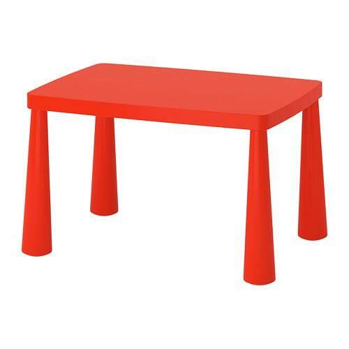 MAMMUT Childrens table  in/outdoor white  red  Size 77x55 cm