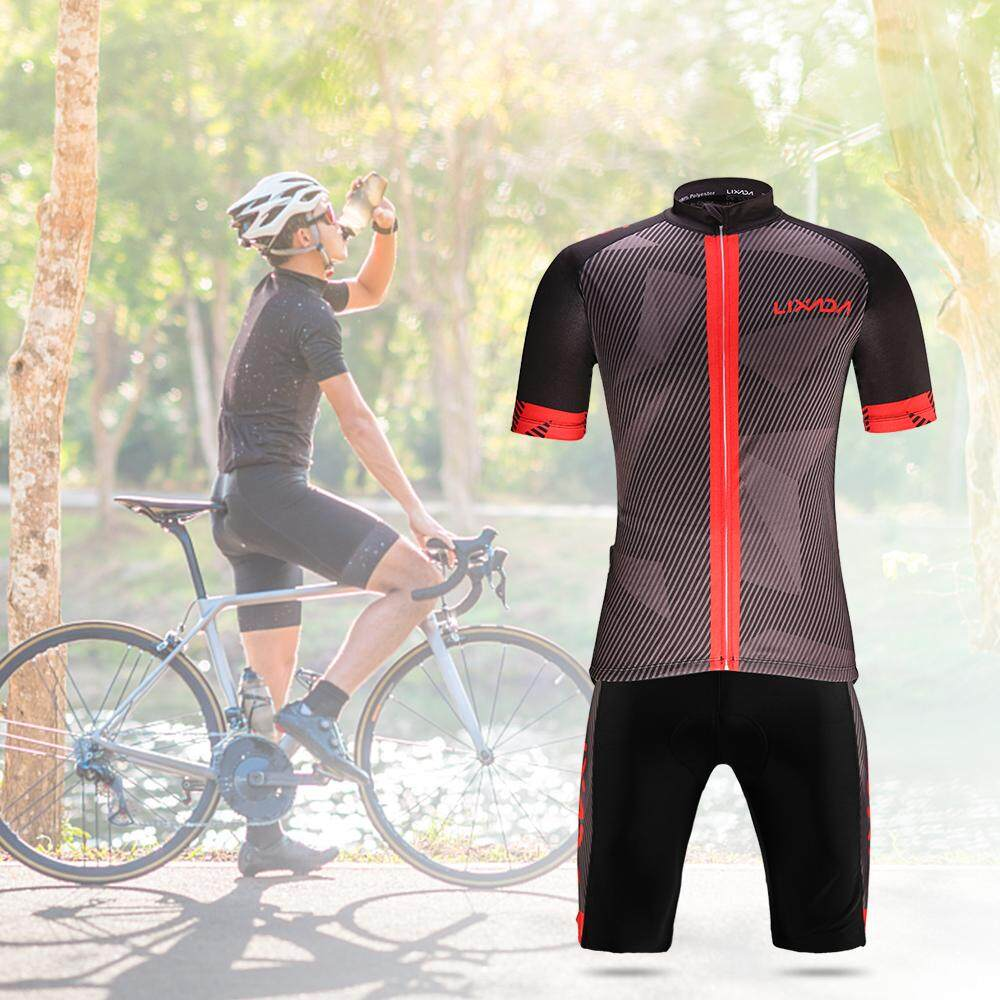 Lixada Men's Cycling Clothes Set Quick Dry Short Sleeve Bicycle Jersey Shirt Tops 3D Cushion Padded Riding Shorts Tights Pants