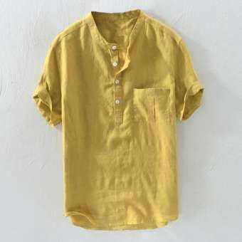 สองด้าน Mens Cotton รูปแบบจีนวินเทจสีทึบหลวมปุ่ม Casual T เสื้อ-