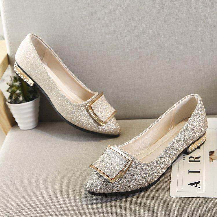 eed343985bf4 2018Newest Fashion Flats Shoes Pearls Diamond Flats Woman Shoes Ballet Flats  White Wedding Shoes Plus Size