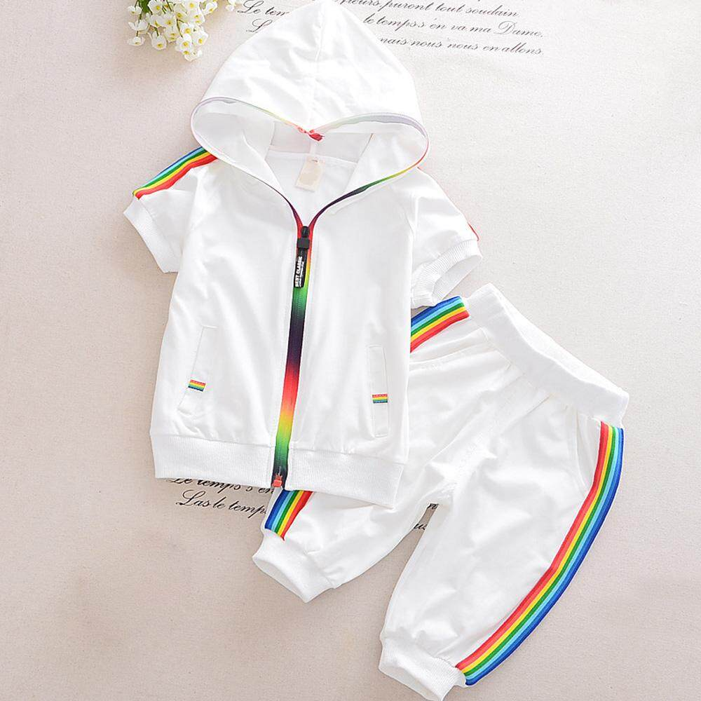 Ishowmall New Kid Summer Casual Fashion Cute Short Sleeve Hooded Zipper Tops+Pants