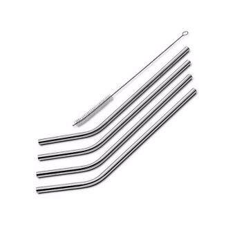 4 Pcs Bend Drinking Stainless Steel Straws for Yeti 30 Ounce Tumbler With Cleaning Cleaner Brush