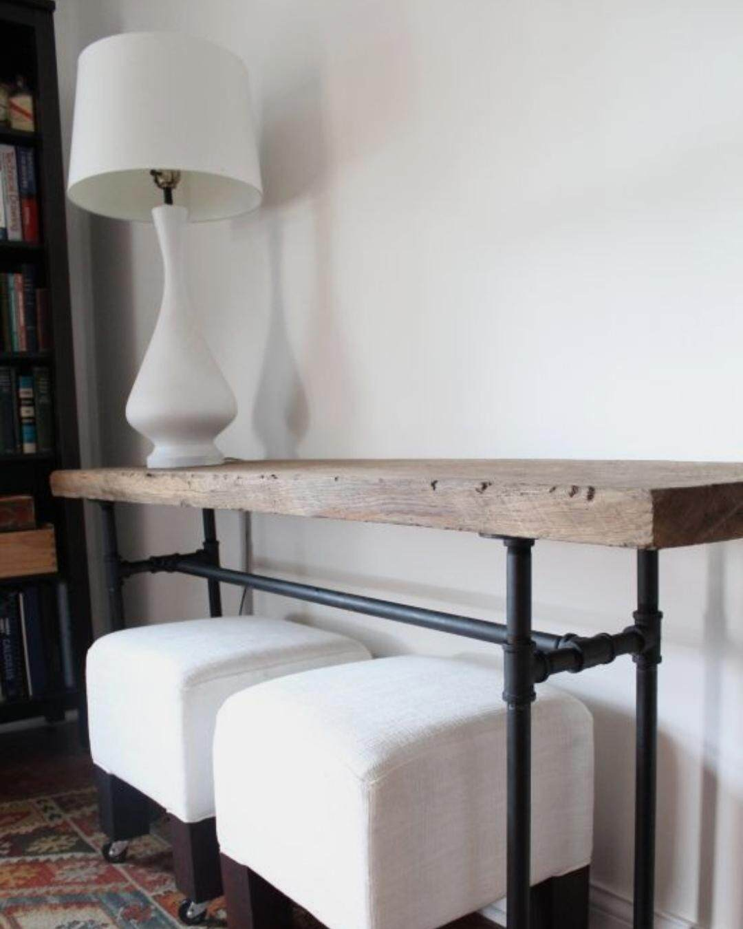 150cm Natural Hard Wood Console Table with Pipes Leg suitable in living room  hallway  entryway  as sofa table