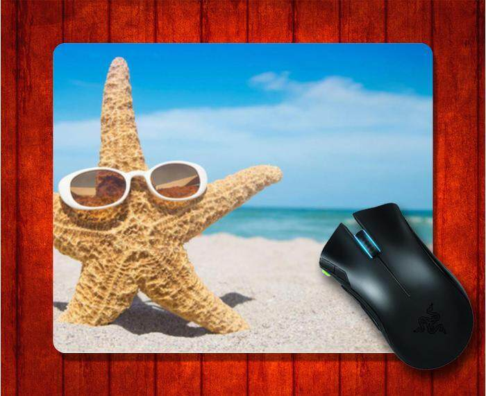 MousePad with Starfish Glasses Blue Sky Beach picture for Mouse Pad Design image Gaming Mice mat 9.5 X 7.9 Inch(240X200X3mm)