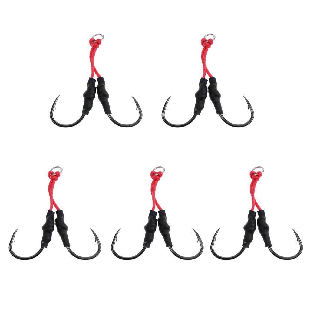 5 x Saltwater Jigging Dual Assist Hook 5//0# Offshore Deep Sea Fishing Hooks