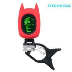 A72 Cartoon Bat Shape Universal Clip-on Electronic Bass Guitar Tuner DIY Colorful LCD Digital Display Instrument Metronome Vibration Mixer (White) (White)