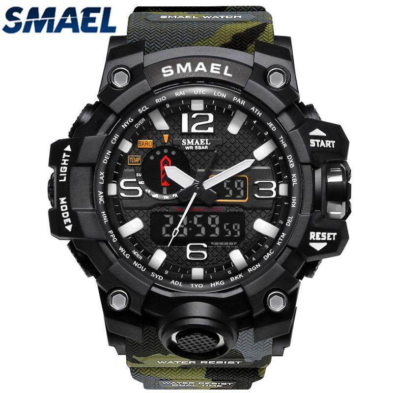 SMAEL Brand Camouflage Military Watch Men G Style Dual Display LED Digital-Quartzwatch Men's G Style Fashion  S Shock Sport Watch  1545mc