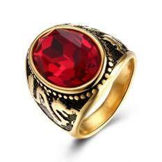 Kemstone Titan Mạ Vàng Vòng Thép Thời Trang Đá Pha Lê Đỏ Hoa Văn Họa Tiết Rồng Ngón Tay Nhẫn Cho Nam