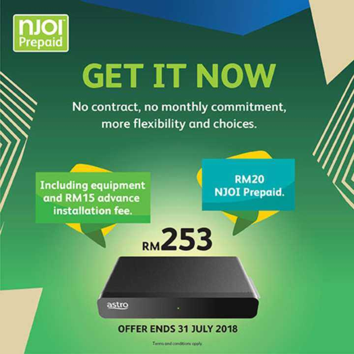 Bundled NJOI Free Satellite TV from Astro (NJOI Set top box, Smart Card, Outdoor Unit, Previews and NJOI Prepaid)