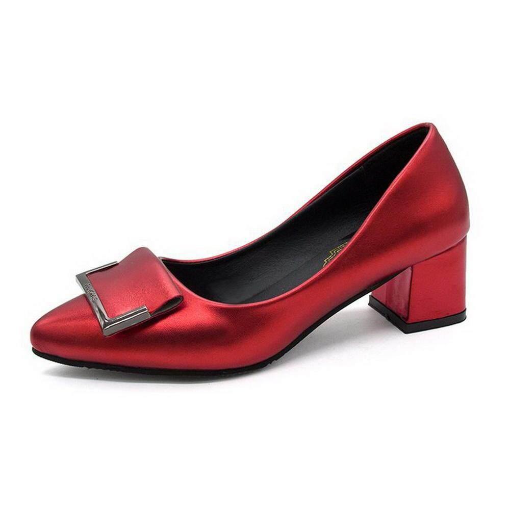 Kualitas Tinggi 2018 Baru Sederhana Fashion Logam Gesper Wanita Sepatu  Tunggal Lancip Mulut Dangkal dengan Sepatu. Ke Toko 0aa84de193