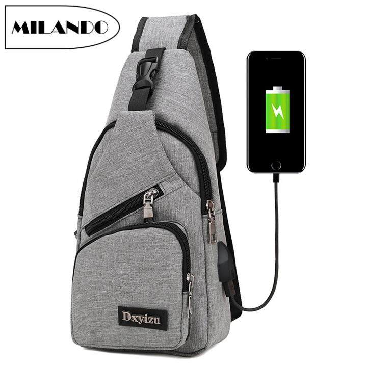 MILANDO Men Crossbody Shoulder Sling Bag With External Charging USB Port Beg Lelaki Bags (Type 7) image on snachetto.com