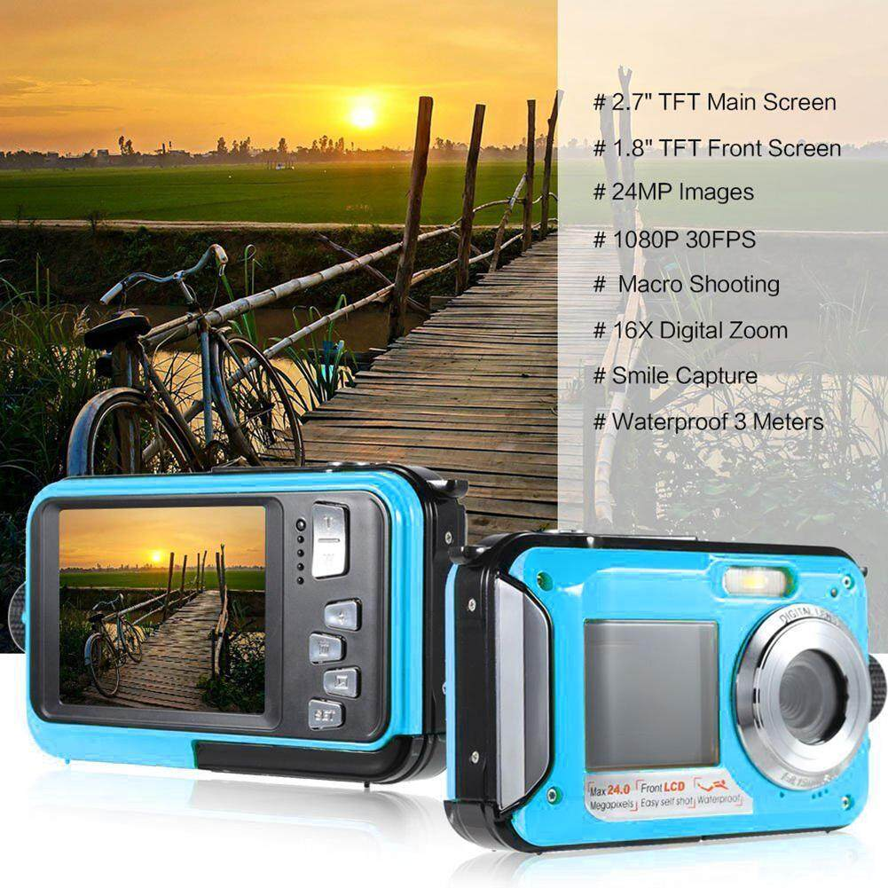niceEshop 24MP Underwater HD Digital Camera, FULL HD 1080P Waterproof Camera with Zoom Lens and Dual Screen for Self-timer