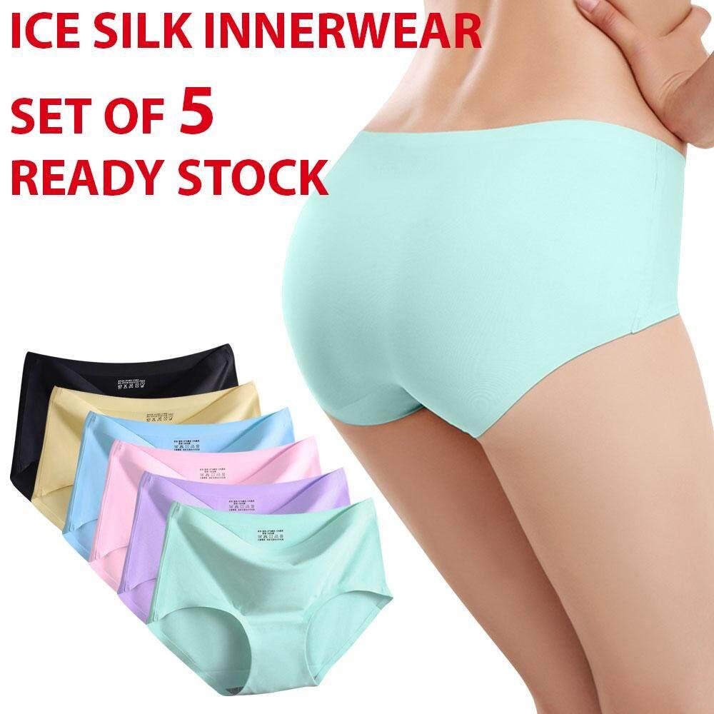 bf03a1e605  Set of 5  Premium Quality Women Seamless Ice Silk Panties - Sky Blue Beige