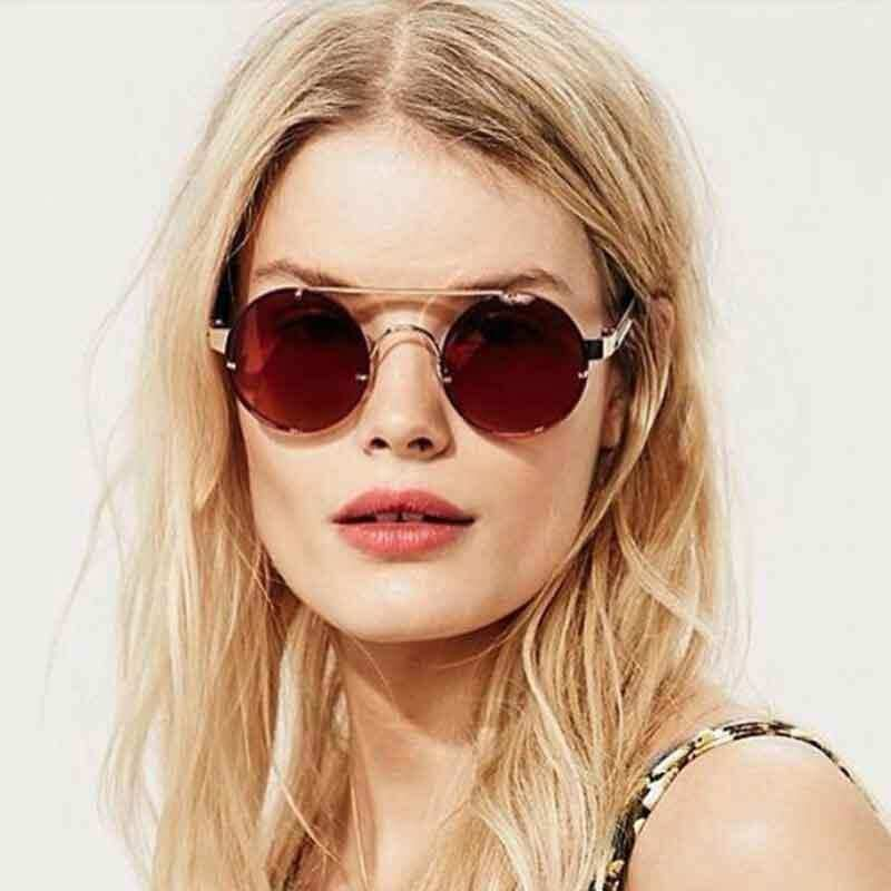 01ed9231f7 Hbk Fashion Retro Round Sunglasses Women Uv400 Metal Frame Color Brand  Designer Top Quality Sun Glasses