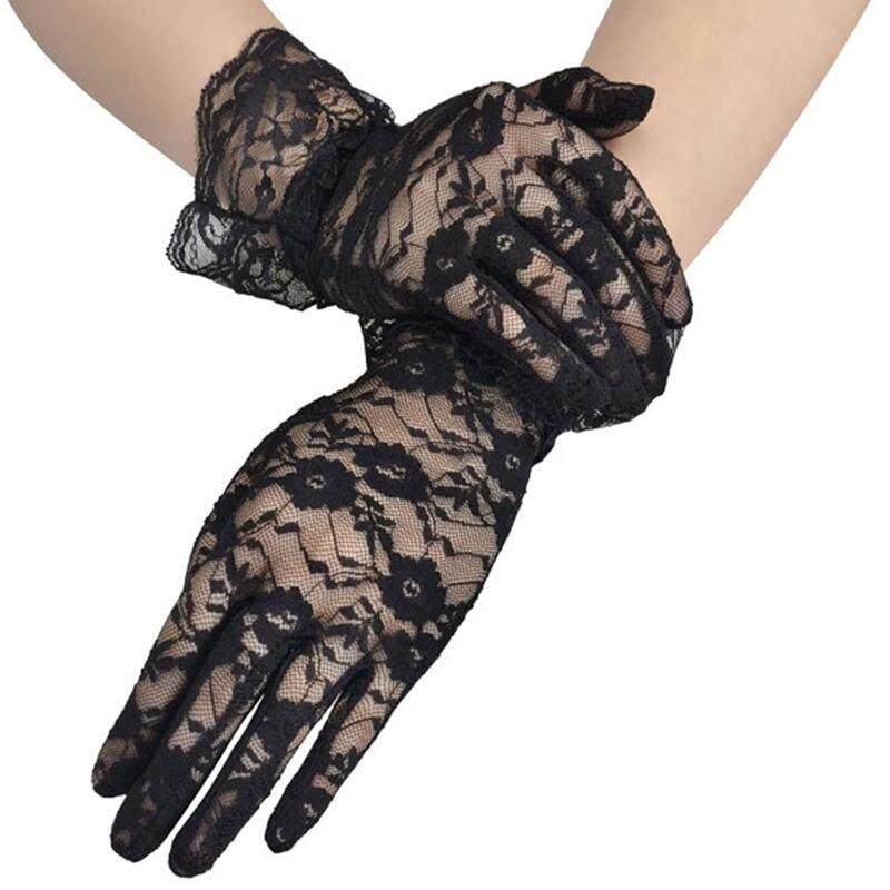 Fashion Women Bridal Evening Wedding Party Prom Driving Costume Lace Gloves black