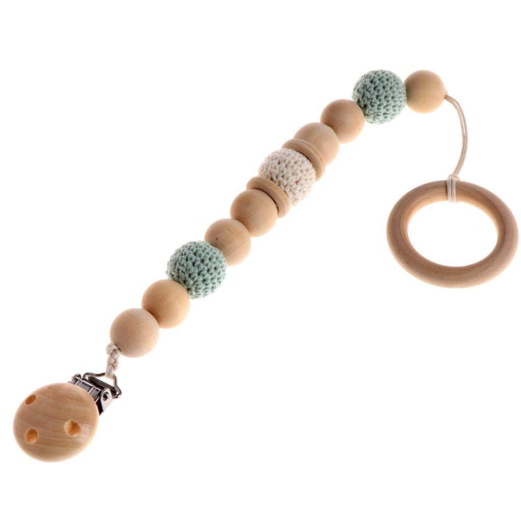 Baby Wooden Teething Dummy Pacifier Clip Bead Infant Soother Nipple Strap Chain