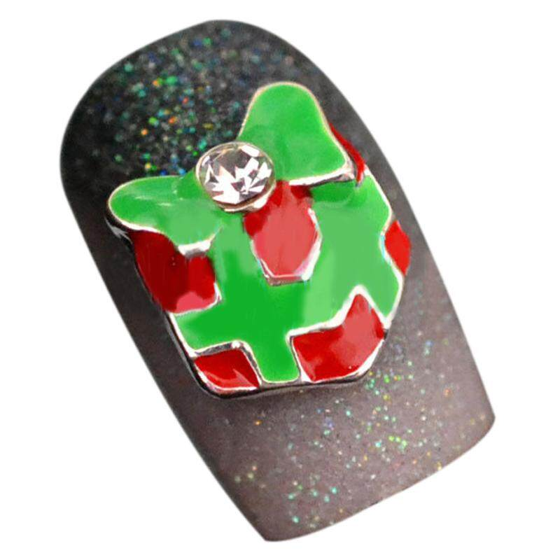 10pcs 3D Christmas Design Alloy Jewelry Nail Art Tips DIY Decorations, Red+Green 026#