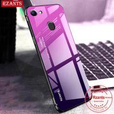 Rzants Ốp lưng cho OPPO F7 Case【Gradient】Smooth Tempered Glass Ultra-thin Shockproof Hard Back Phone Casing