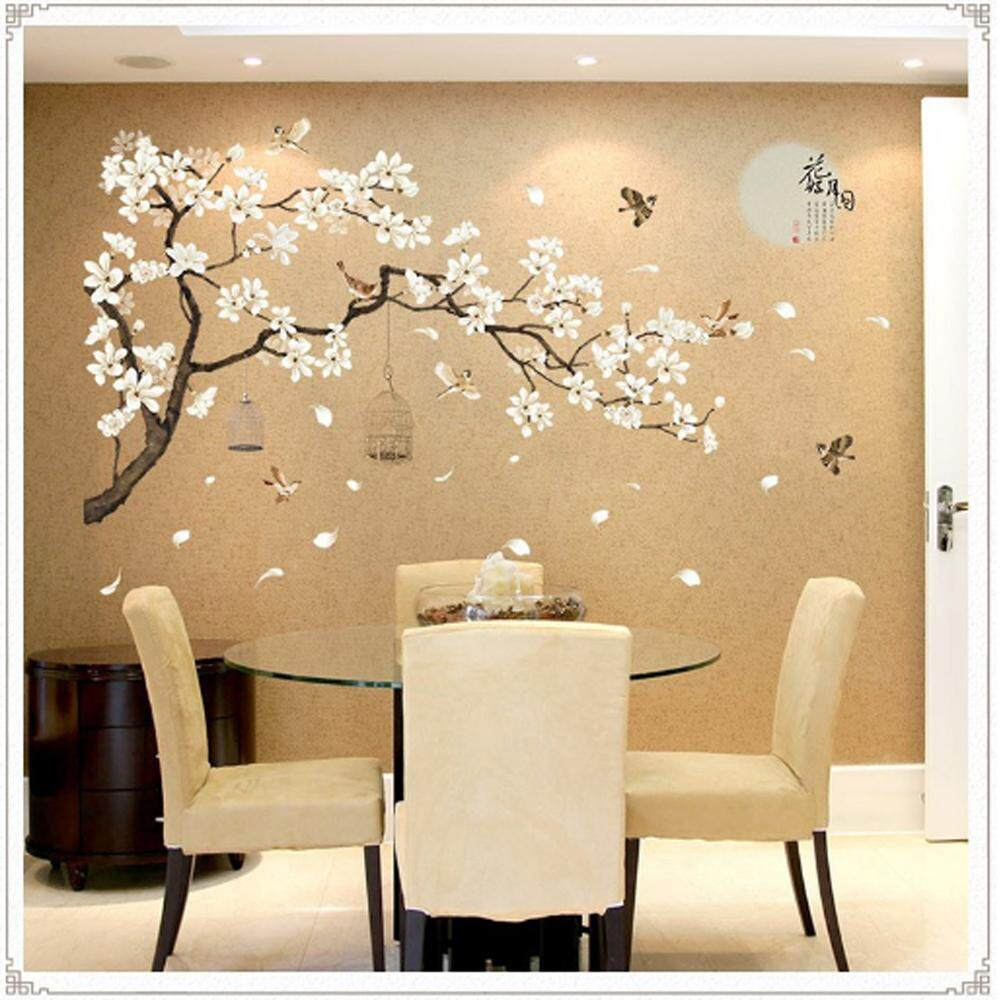 White Flowers Tree PVC Wall Decals DIY Home Sticker WallPaper Vinyl Wall arts Pictures Removable Murals For House Decoration Baby Living Rooms Bedroom Toilet