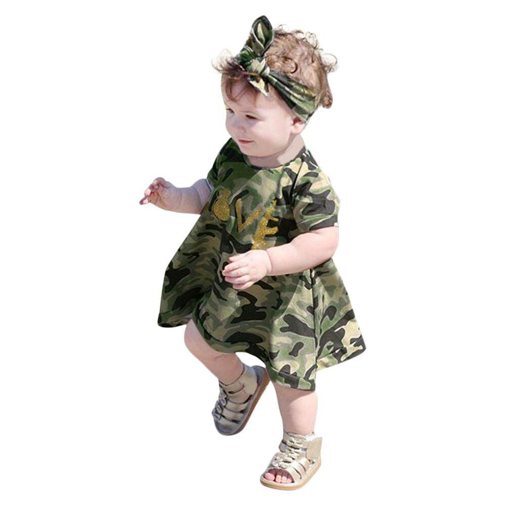 d00b765c121ff Product details of 2Pcs Baby Girls Kids Camouflage Dress+Headband Clothes  Sundress Casual Set