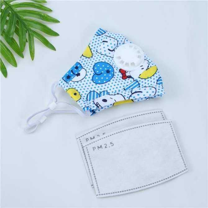 Child PM2.5 Dust Mask Anti Pollution Mask Cartoon Cute Breathable Mouth Face Mask with Respiration Valve (Blue Letters)