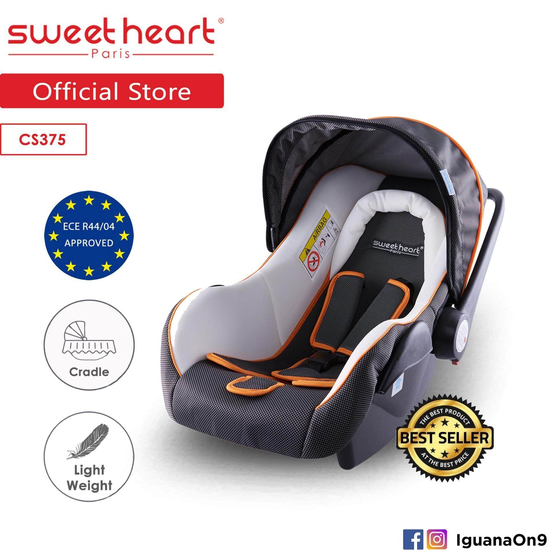 Sweet Heart Paris CS375 Baby Car Seat (White Grey) with Sun Shade Canopy