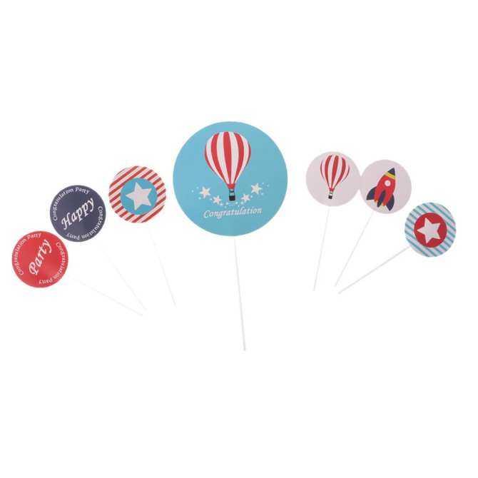 BolehDeals 7/set Aviation Themed Cake Cupcake Topper Pick Baby 1st Birthday Party Decor