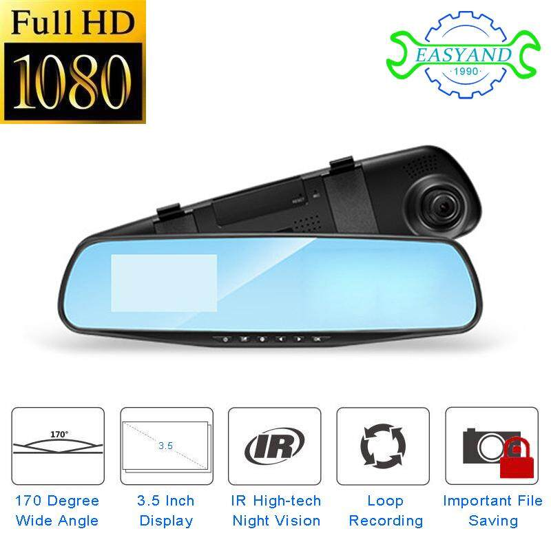 [Reverse View Function] EASYAND Car Camera 1080P FHD Dash Cam Video Recorder Rear View Mirror DVR Camera 170 Wide Angle with G-Sensor IR Night Mode