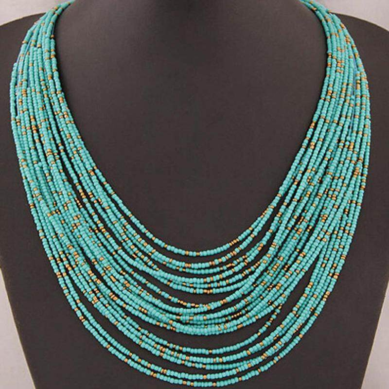 Multi Layered Beads Necklace Long Statement Necklace Gray Necklace