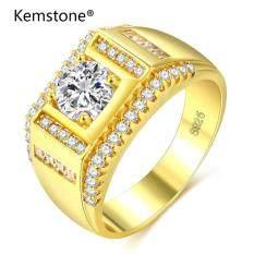 Kemstone Thời Trang Màu Vàng Bạc 925 Nhẫn Ốp Hoa Pha Lê Đính Hôn Trang Sức Quà Tặng Dành Cho Nam