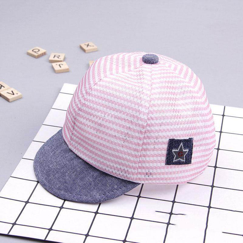 Baby Summer Soft Cotton Striped Baseball Cap Breathable Eaves Beret Sun Hat New