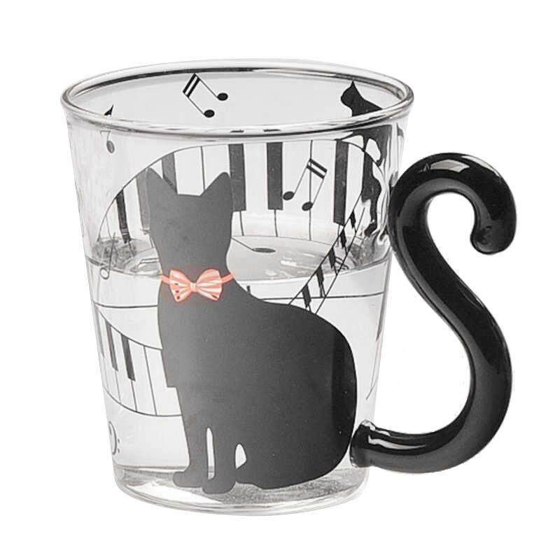 1x Lovely Cat Glass Mug Tea Milk Coffee Cup with Tail Handle New