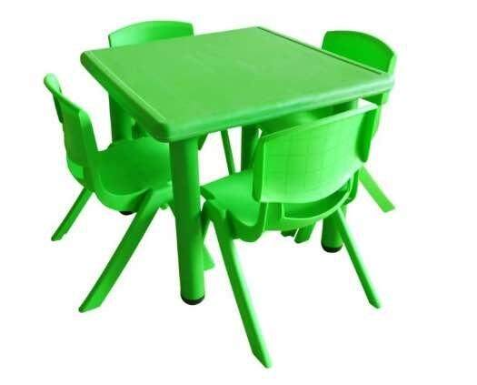 62 x 62 cm Kindergarten Square Study Table with Adjustable Height for Kid Children Nursery Colorful
