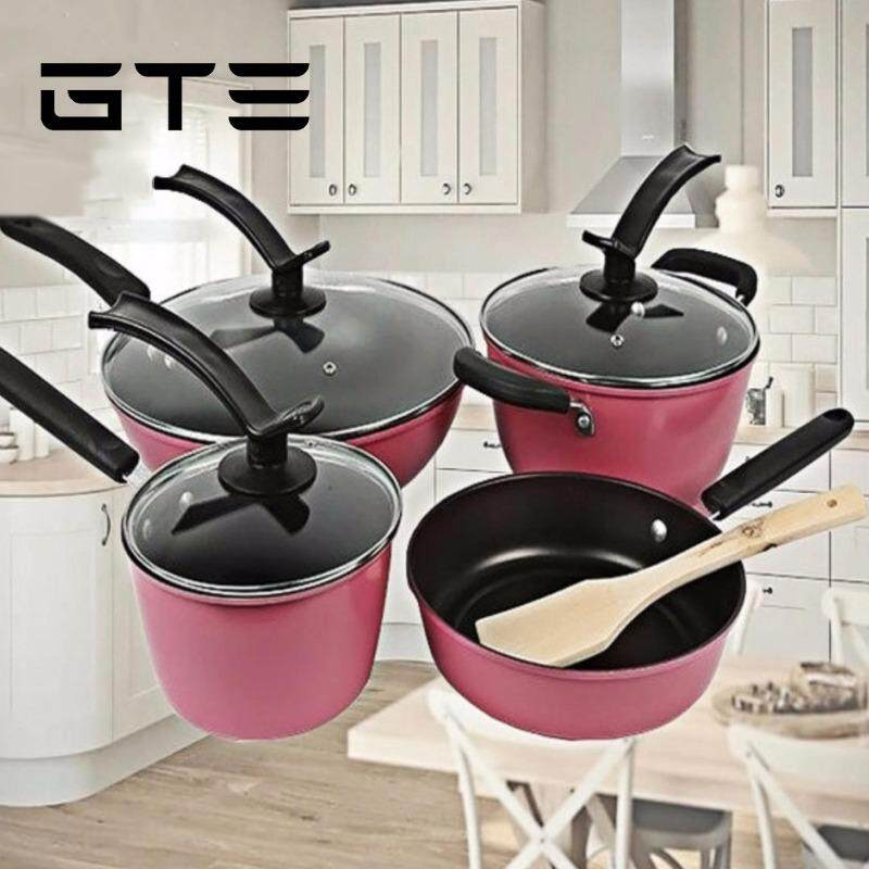 GTE 8-In-1 Non-stick Stainless steel Cookware Wok Frying Pan Pot Induction Cookware Set With Wooden Spoon (CW-7109) - Pink - Fulfilled by GTE SHOP