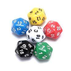 6pcs/set games multi sides dice d20 gaming dices game playing mixed color – intl
