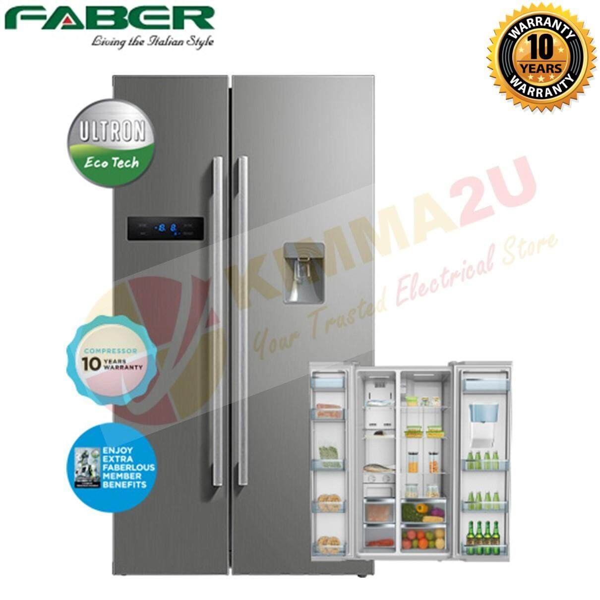 FABER 584L 2-Door Side by Side Fridge Refrigerator FRIGOR 699 w Water Dispenser *LARGER THAN RS54N3003SL