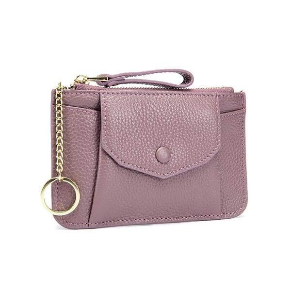 Kulit Asli untuk Wanita Zip Mini Tas Koin dengan Gantungan Kunci Zipper Tempat Kartu Case Dompet