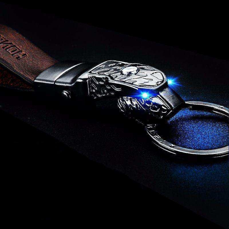 Leopard LED Kulit Gantungan Kunci Mobil Pria Gantungan Kunci untuk Mazda Proton Honda Volvo BMW E46