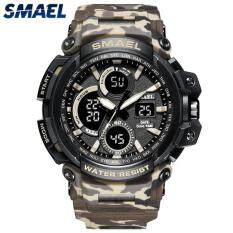 SMAEL Mens Watches Top Brand Luxury Camouflage Quartz Watch Men Sport Military Digital Watch Men Outdoors Waterproof Watch
