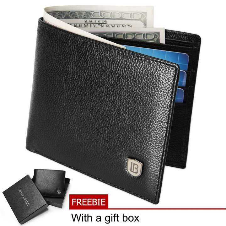 bostanten cowhide leather simple checkbook card holder
