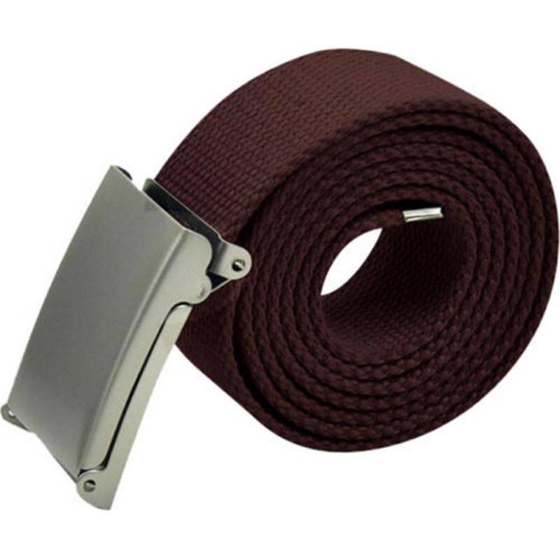 GETEK Mens Unisex Plain Webbing Canvas Cotton Belt Fit 32-54 Inch Buckle Ladies Army