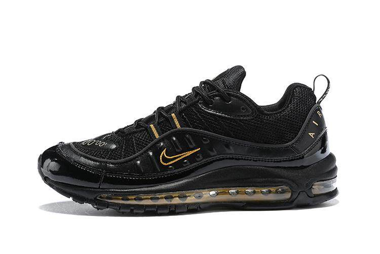 c972dec7ebd1 Nike Air Max 98 Men s Retro Running Sneaker Fashion Casual Sport Shoes  (Black Yellow