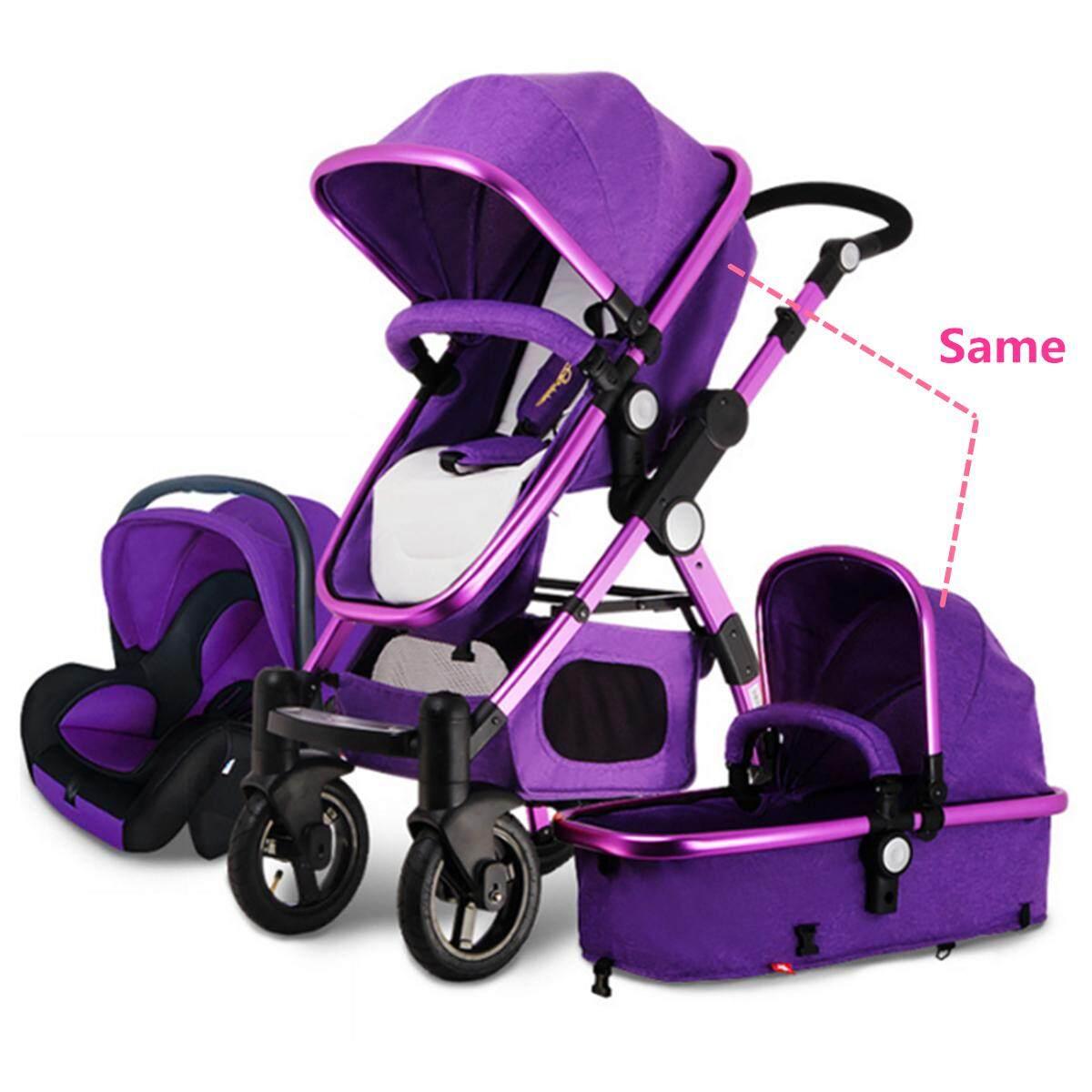 ของแท้และส่งฟรี Unbranded/Generic รถเข็นเด็กสามล้อ 3 in 1 Pro รถเข็นเด็กทารกสูงดูรถเข็นเด็กพับได้ Bassinet และรถที่นั่ง # สีม่วง - INTL ลดราคาเกินครึ่ง