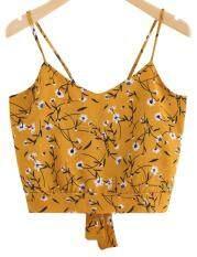 Hequ Women Retro Floral Print V Neck Tie Back Strap Blouse Camis Shirt Crop Top – intl