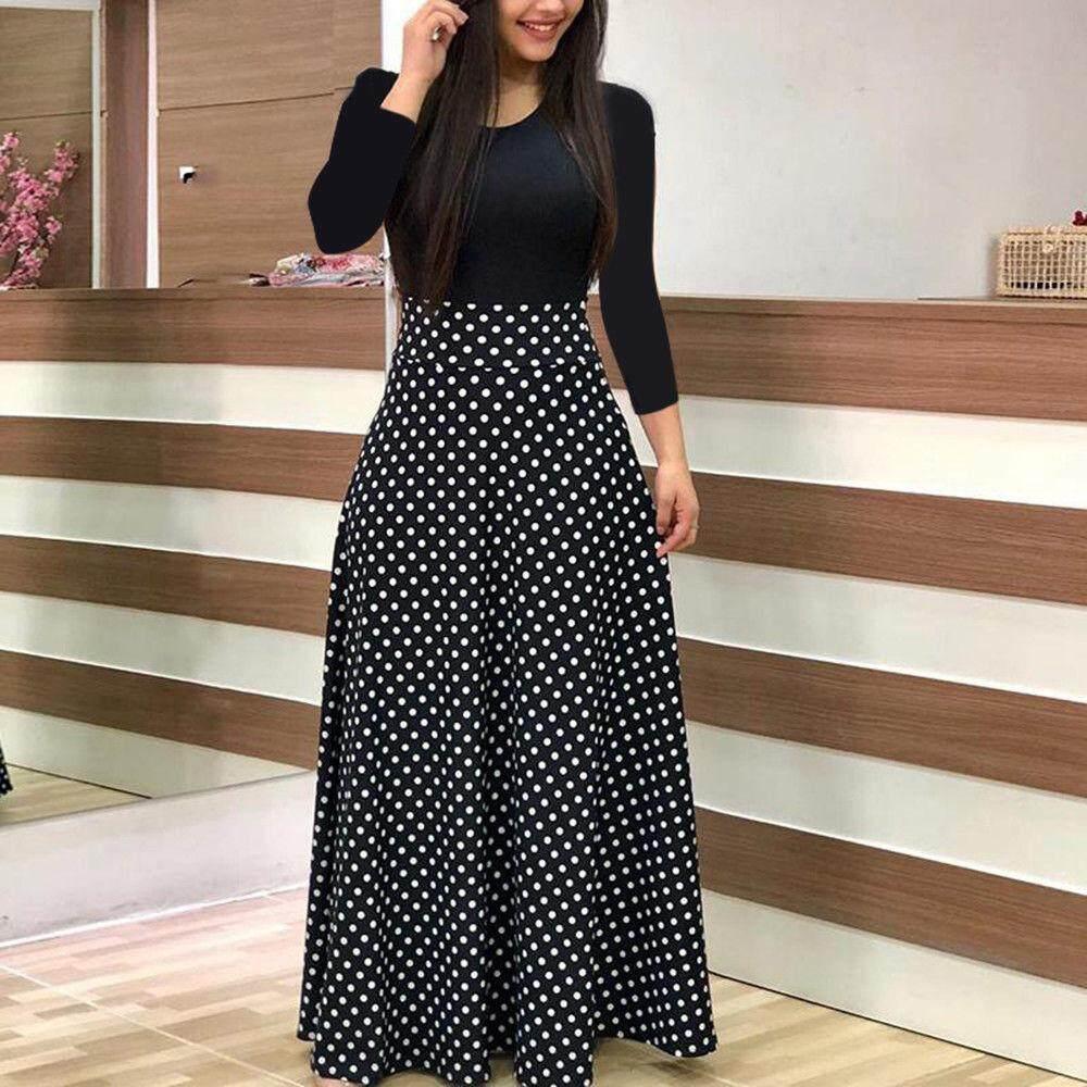 Akom Fashion Wanita Lengan Panjang Floral Boho Cetak Lama Maxi
