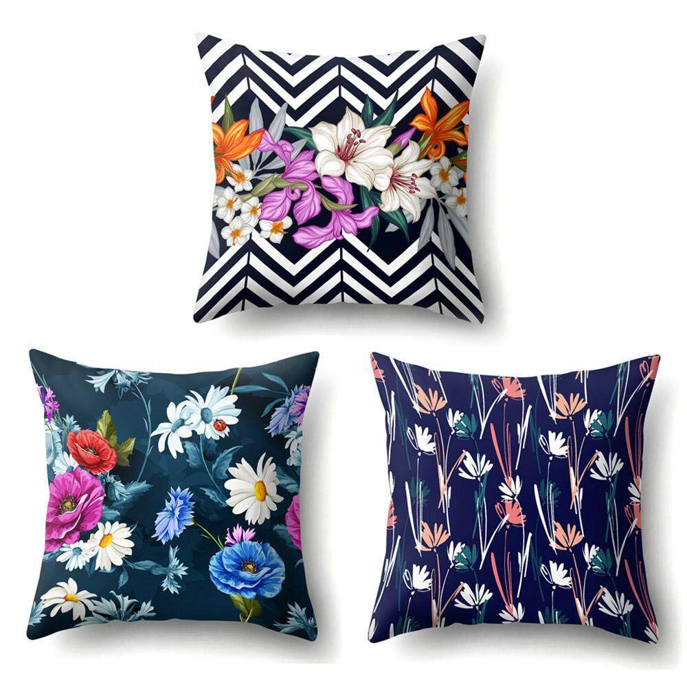 Throw Pillow Covers.Silynew Set Of 3 Pillow Covers Christmas Home Decor Cotton Linen Throw Pillow Covers Square Cushion Cover For Sofa Couch Bed And Car 18 X 18 Inch